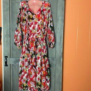 Floral Tiered Maxi Dress Sz XL